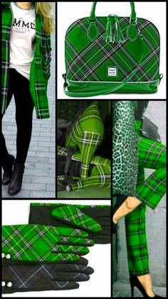 Mad about Emerald Green Plaid & Leopard. outfits, gloves, handbags coats and Mode Tartan, Tartan Plaid, Tartan Fashion, Green Fashion, Image Fashion, Fashion Show, Tweed, Plaid And Leopard, Scottish Plaid