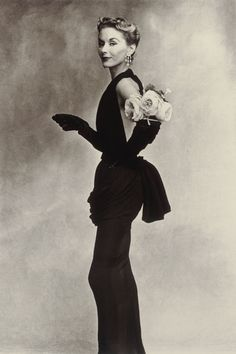 Woman with Roses (Lisa Fonssagrives-Penn) La Faurie Dress, Paris (photo by Irving Penn, American, 1917-2009) - (artic)