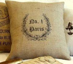 french burlap pillows...yummy!