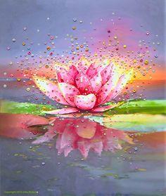 The Energy Art Store By Julia Watkins — Pink Lotus Energy Painting - Giclee Print Lotus Flower Art, Lotus Art, Pink Lotus, Lotus Painting, Painting & Drawing, Chakra Painting, Cross Paintings, Art Paintings, Watercolor Paintings