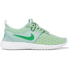 Nike Juvenate mesh sneakers ($100) ❤ liked on Polyvore featuring shoes, sneakers, green, grip trainer, green sneakers, lightweight shoes, nike footwear and foldable shoes