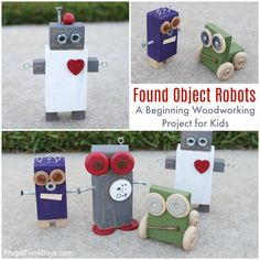Found Object Robots: A Beginning Woodworking Project for Kids – Frugal Fun For Boys and Girls
