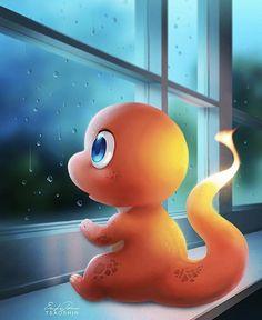 Charmander On A Rainy Day! Pokemon Backgrounds, Cool Pokemon Wallpapers, Cute Pokemon Wallpaper, Cute Cartoon Wallpapers, Pikachu Art, Pokemon Eeveelutions, O Pokemon, Charizard, Pikachu Drawing