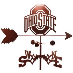 Add this stylish decoration to your home for a personalized touch. The weathervane is constructed from weatherproof steel with a copper vein powder coat finish and features a Ohio State Buckeyes desig