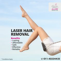Laser Hair Removal Clinic.  Be hair free this summer, drop the razor and go for laser. Call us on 8800883548 to book your session or else book online on http://www.skinallureclinic.com/.  #laserhairremoval #laserhairreduction #medspa #nohairforever #hairf http://beautifulclearskin.net/category/clear-skin-tips/