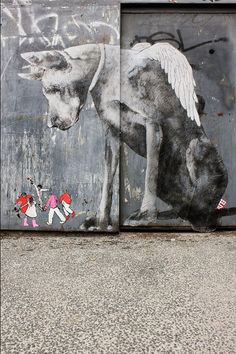 Street Art by Ella et Pitr --This painting is TRUTH! Since the beginning, dogs have protected us. 3d Street Art, Amazing Street Art, Street Art Graffiti, Amazing Art, Awesome, Graffiti Kunst, Graffiti Artwork, Banksy, Urbane Kunst