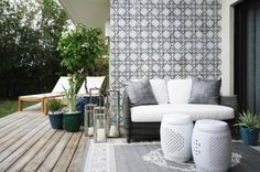 Interesting wall pattern with nice plain Peranakan style chairs for outdoor or balcony