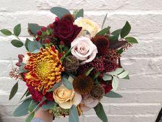 dahlia chrysanthemum wedding bouquet - Great colors!