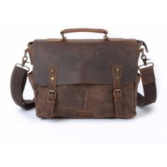 EAZO - Waxed Canvas Messenger Bag With Dslr Camera Sleeve in Brown (5.890 RUB) ❤ liked on Polyvore featuring men's fashion, men's bags, men's messenger bags, mens laptop messenger bag and mens brown leather messenger bag