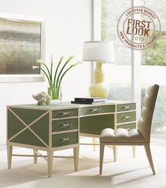 Office & Workspace, Comfy Brown Tufted Chair Paired With Decorative Green Designer Writing Desk Plus Drawers Set Near Large Glass Windows Idea ~ Beautiful Designer Writing Desks with Storage Home Office Computer Desk, Office Workspace, Home Office Furniture, Office Decor, Furniture Design, Office Ideas, Office Spaces, Design Desk, Furniture Market