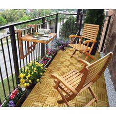 Balcony Table and Casino Chairs ( 1 Table 2 Chairs) Narrow Balcony, Small Balcony Decor, Condo Balcony, Small Balcony Design, Tiny Balcony, Balcony Table And Chairs, Apartment Balcony Decorating, Balcony Railing, Balcony Ideas