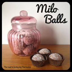 Milo Balls - The Road to Loving My Thermo Mixer 250g shortbread biscuits, broken in half 50g milo 50g desiccated coconut 1 teas vanilla bean paste 200ml sweetened condensed milk Sprinkles/coconut to roll them in.
