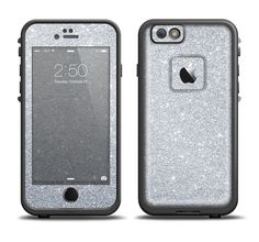 The Silver Sparkly Glitter Ultra Metallic Apple iPhone 6/6s Plus LifeProof Fre Case Skin Set from DesignSkinz