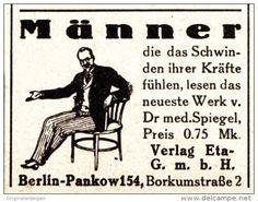 Original-Werbung/ Anzeige 1925 - MÄNNER / DAS SCHWINDEN DER KRÄFTE / DR.SPIEGEL / ETA - BERLIN - ca. 35 X 30 mm