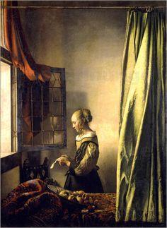 Jan Vermeer - Brieflesendes Mädchen am offenen Fenster