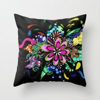 Bright Flower Doodle Throw Pillow