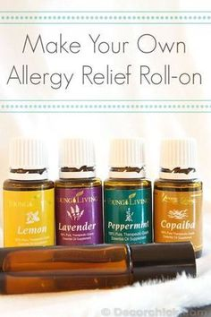 "20 drops each lemon, lavender, peppermint, and copaiba, plus an equal amount of carrier (V-6, olive oil, etc), in a roll on. Applied to the back of the neck and feet! Lemon, Lavender, and Peppermint are known as the ""allergy trio"" and are included in the Premium Kit Copaiba is known to enhance the effects of other oils, which is why I love the idea of it in this blend! It also is anti-inflammatory and has respiratory benefits, among others. www.fb.com/HealingLotusAromatherapy"