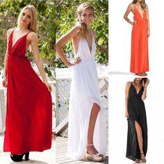 Sexy Womens Deep V Neck Backless Spaghetti Strap Evening Party Long Maxi Dress #Unbranded #Sundress #Clubwear