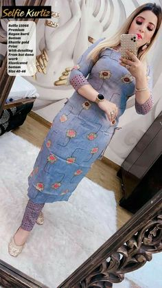 Latest Kurtis Online, Anarkali Suits Online Shopping, Kurti Collection, Kurti Neck Designs, Casual Dress Outfits, Girl Photo Poses, Western Dresses, High Waisted Skirt, Indian