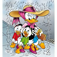 Daisy Duck with Huey, Dewey & Louis:) Cartoon Cartoon, Cartoon Movies, Cartoon Characters, Disney Duck, Disney Mickey, Disney Art, Disney Memes, Disney Cartoons, Donald And Daisy Duck
