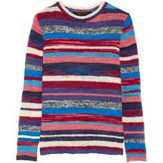 The Elder Statesman Striped cashmere sweater (16.612.325 IDR) ❤ liked on Polyvore featuring tops, sweaters, red, blue sweater, striped sweater, multi color sweater, red cashmere sweater and blue striped sweater