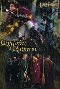 """11x17 Inch Harry Potter and the Chamber of Secrets movie poster features Harry Potter and the Gryffindor Quidditch team and Draco Malfoy and the Slytherin Quidditch team with the caption """"Gryffindor vs Slytherin"""". Get it now at http://harrypottermovieposters.com/product/harry-potter-and-the-chamber-of-secrets-movie-poster-style-b-11x17-inch/"""