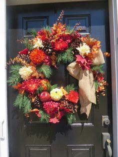 Fall Wreath for Front Door, Autumn Wreath, Autumn Door Wreath, Fall Do… Wreaths For Sale, Wreaths For Front Door, Door Wreaths, Wreath Fall, Autumn Wreaths, Diy Wreath Hanger, Spider Mums, Fall Door, Burlap Ribbon