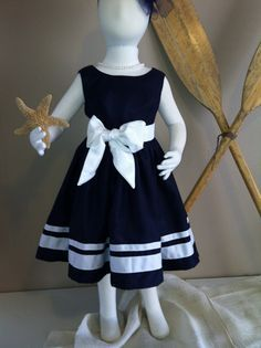 Navy Nautical Flower Girl Dress by jimandbettys on Etsy Baby African Clothes, Baby Dress Clothes, African Dresses For Kids, Dresses Kids Girl, Kids Outfits, Flower Girl Dresses, Baby Girl Fashion, Kids Fashion, Bridal Fabric