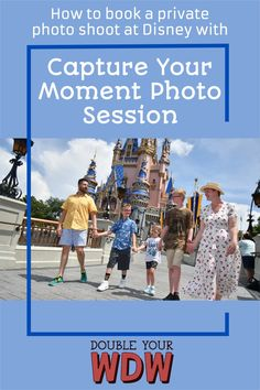 You can book your own private photo shoot at Disney World's Magic Kingdom with the Capture Your Moment Photo Session. Here you'll learn how it works, what it costs, what to expect, and our review. Disney | Disney World | Magic Kingdom | DIsney tips | Disney tips and tricks | Disney planning | Disney vacation | Disney photos | Disney photo shoot | vacation planning | Vacation photos Disney World Tickets, Disney World Florida, Disney World Parks, Disney World Planning, Walt Disney World Vacations, Disney World Tips And Tricks, Disney Tips, Disney Disney, Disney Cruise