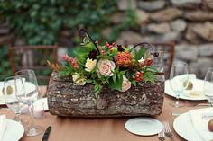 Knoxville Garden Wedding by Julie Roberts Photography fall wedding flowers. What a precious first look moment! by Julie Roberts Photography www. The post Knoxville Garden Wedding by Julie Roberts Photography appeared first on Easy flowers. Log Centerpieces, Table Arrangements, Floral Arrangements, Flower Arrangement, Centerpiece Ideas, Succulent Arrangements, Succulents, Tree Stump Centerpiece, Woodland Wedding