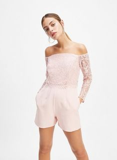 864654b6e53 Womens Petite Pink Lace Mix Playsuit