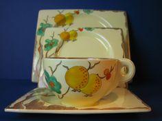 Fantastic Art Deco Clarice Cliff Passion Fruit Biarritz Tea Set 1936 - 21 Pieces | eBay