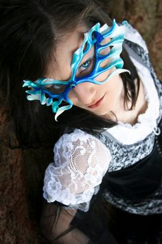 Frost Fairy Filigree Leather Mask  Halloween by beadmask on Etsy, $68.00