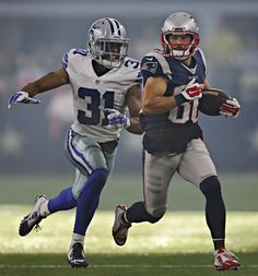 Dallas Cowboys cornerback Byron Jones (31) chases down New England Patriots wide receiver Danny Amendola during the second half of their game Sunday, October 11, 2015 at AT&T Stadium in Arlington, Texas. (G.J. McCarthy/The Dallas Morning News)