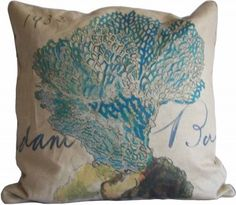 A gorgeous, artfully drawn pillow that will surely grab attention, even in its understated blues. This sea fan grows and expands to cover a substantial surface area of this pillow. Whimsical wording and the date