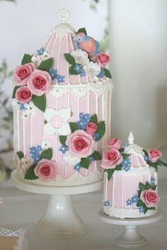 baby shower fantasy elegant gold bird themed dessert table pink bird cage cake