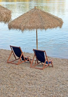 Chairs on beach Outdoor Umbrellas, Outdoor Rooms, Outdoor Decor, Float Your Boat, Hand Fans, Summertime, Nautical, Landscapes, Spain