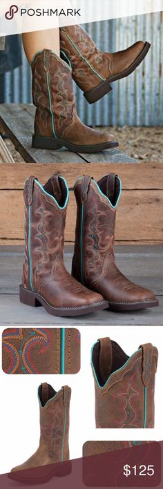 """Justin Leather Square Toe Western Cowboy Boots Comfort, durability & STYLE.   🏷NIB 🏷Size: 9 🏷MSRP: $143.00  👩🌾12"""" tan jaguar leather upper with diamond-cut pull strap 👩🌾Multicolored embroidered stitching on the shaft 👩🌾Coordinating turquoise piping runs down the side of the boot 👩🌾Fashionable square toe 👩🌾Unit heel supports the foot better 👩🌾J-Flex Comfort System footbed with a removable orthotic insert  👩🌾Leather covered cushioned insole 👩🌾Brown, durable rubber…"""