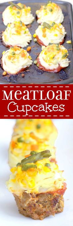 """Savory meatloaf cupcakes recipe made with the BEST meatloaf recipe and topped with ketchup, mashed potato """"frosting"""" and cheese and… Good Meatloaf Recipe, Best Meatloaf, Meatloaf Recipes, Beef Recipes, Cooking Recipes, Fun Recipes, Cookbook Recipes, Muffin Recipes, Recipies"""