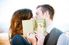 Perfect for a nerdy engagement photo. Get your favorite book as a couple and smooch for the camera!