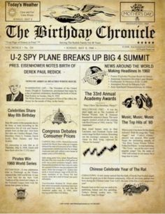 Check out this item in my Etsy shop https://www.etsy.com/listing/202829554/the-birthday-chronicle-newspaper-print