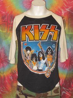 The KISS (band) Block on Yardsellr photo Vtg KISS 1979 WORLD TOUR Raglan AMERICAN ROCK BAND Concert T-Shirt Small