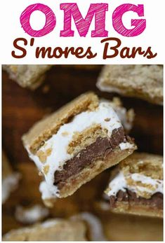 OMG S'mores Bars - Perfect for picnics, of July, parties and s'mores addicts. Layers of luscious graham cracker cookie dough, billowy marshmallow fluff and rich milk chocolate bar! Wooing you in? Damn you S'mores Bars! I can't quit you! Fun Desserts, Delicious Desserts, Dessert Recipes, Yummy Food, Bar Recipes, Holiday Desserts, Dessert Ideas, Baking Recipes, Sweets