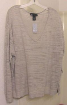 NWT-LANE-BRYANT-Slub-Knit-Sweater-V-Neck-Beige-Cotton-Rayon-22-24-3X