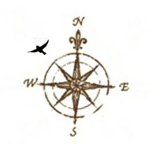Compass rose with bird flying in the direction of 'home' - tattoo idea #compasstattoo #compassrosetattoo