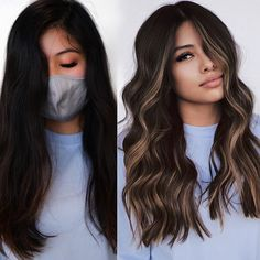 Black Hair With Highlights, Black Highlighted Hair, Highlights Underneath Hair, Highlights Around Face, Rose Gold Highlights, Hair Color Highlights, Brown Hair Balayage, Dark Brown Hair With Highlights Balayage, Dark Hair With Lowlights