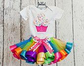Birthday Girl Onesie/T-Shirt w/ Present, Polka Dot Ribbon Bow & Age Number-Matches Rainbow Satin Ribbon Edge Sewn Tulle Tutu (No Tutu). $20.00, via Etsy.