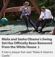 """January 2017 """"Before the swing set was donated to charity, CNN reports a White House Official said it was offered to the Trump family, who declined to keep it. Trump's son Barron is 10 years old, but he and his mother Melania reportedly won't be moving to the White House when Trump is sworn into office. """""""