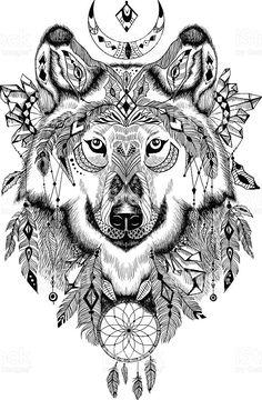 Des loup dans un style aztec stock vecteur libres de droits libre de droits