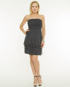 Chiffon Sweetheart Dress - The fluidity of the corkscrew ruffles define this chiffon sweetheart dress.